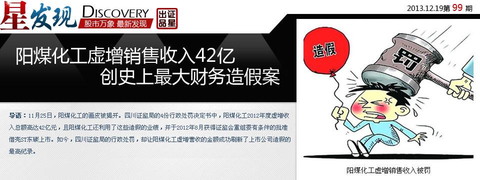 阳煤化工虚增销售收入42亿 创史上最大财务造假案