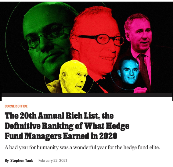 最牛对冲基金经理每天赚3.5亿!这10个人收入最高(名单)