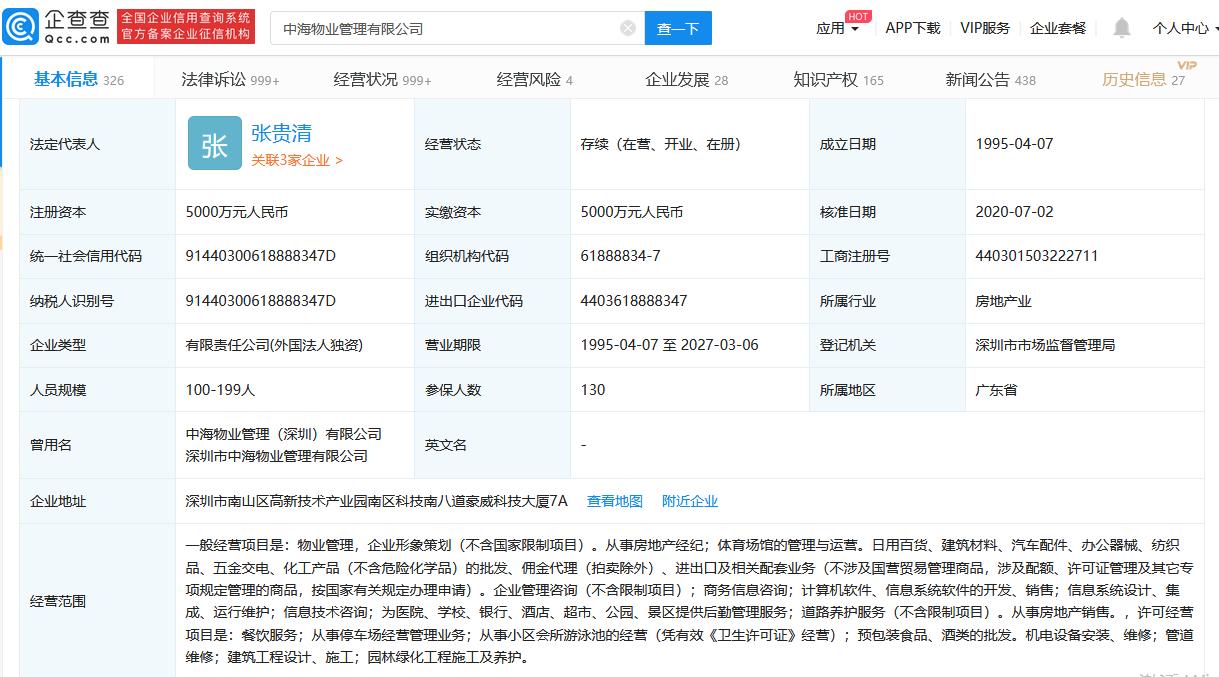 中海物业工商信息变更:新增张贵清为董事长 杨鸥退出