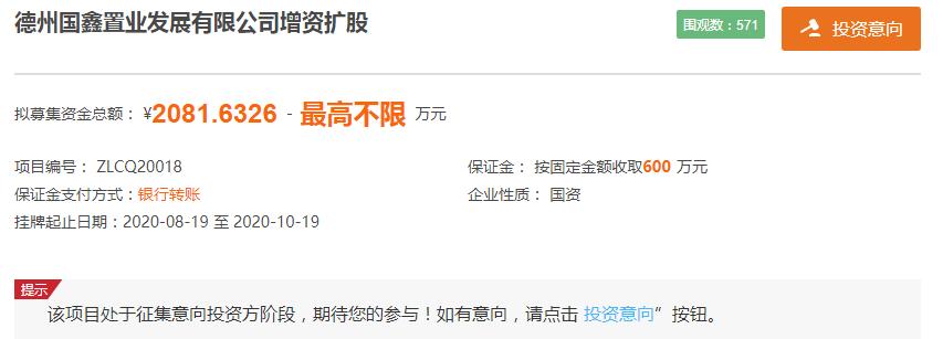 国鑫置业拟增资扩股引入战略投资者 募资2082万元