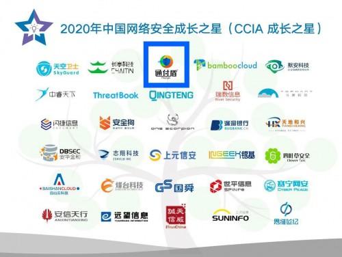 """通付盾入选""""2020年中国网络安全成长之星""""(CCIA成长之星)榜单"""